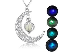 whole shine moon glow in the dark necklaces pumpkin glowing luminous stone silver color fluorescent chain necklaces pendants jewelry gifts personalized