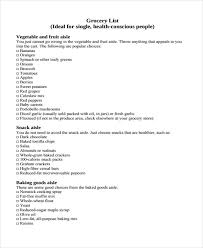basic grocery shopping list grocery shopping list templates 9 free word pdf format download
