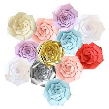 How To Make Rose Flower With Tissue Paper 20 30 40cm Diy Large Paper Flowers Backdrop Flower Wall Wedding Party Decoration