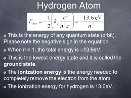 hydrogen atom this is the energy of any quantum state orbit please note