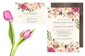 floral wedding invitation set do it yourself printable pink