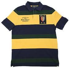polo ralph lauren mens green navy yellow striped rugby shirt multisizes as