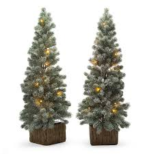 belham living 3ft pre lit flocked door step artificial trees with clear lights green walmart