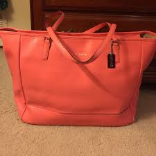 Coach Saffiano Large E W city tote  Coral