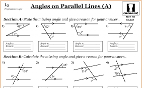 Kindergarten Angles On Parallel Lines   Cazoom Maths Worksheets ...
