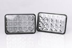 Bear Claw Lights Bear Claw 4x6 Rectangle Series Led Conversion Headlights Euro Diamond Clear Chrome H4651 H4652 H4656 H4666 H6545 Replacement H4 Socket High Low Beam