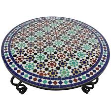 mosaic outdoor round tile coffee table from morocco for
