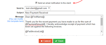 Email Address Templates Payment Notification Emails Payments Quickfile