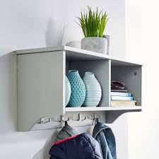 modern light grey wall mounted shelf