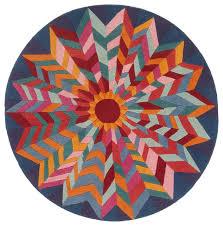 sunburst round rug 100 wool hand knotted in nepal 4