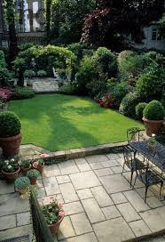 formal town garden with paved patio