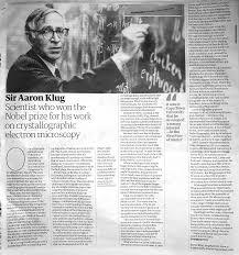 Mole's Genealogy Blog: Biophysicist Aaron Klug: Durban High School student  and graduate of Cape Town University won the Nobel Prize 1982