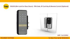 yale digital rim lock ydg313 glass door pin code card