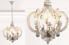 distressed white wood chandelier pendant light metal and