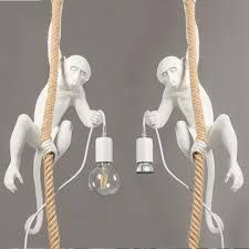 <b>Creative Modern LED</b> Monkey <b>Chandelier</b> Resin Hemp Rope ...