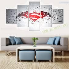 Wall Art Paintings For Living Room Aliexpresscom Buy 5 Panels Batman Vs Superman Printed Canvas