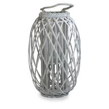 large grey wash willow candle lantern rope handle glass jar 49cm tall