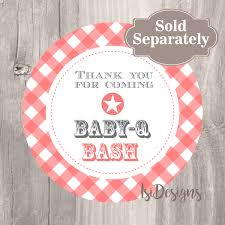 Thank You Card, Printable Baby Shower Baby-Q Bash Thank You Card, Instant