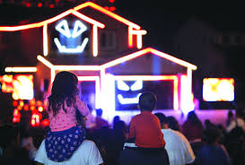 halloween lighting. Families Watch As A Popular \u201cHalloween House\u201d Puts On Show Thursday, Oct. 20, 2016 In Riverside. Kevin Judd, Of Riverside, Is The Lighting Designer Halloween 5