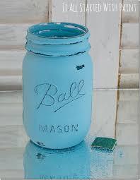 turquoise painted mason jars 2