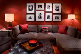 Enchanting Red Living Room Color Ideas With Wall Frame Decorations  Completed With Gray Sectional Sofa And