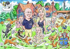 a family caricature with orted pets one of whom had ped away but couldn
