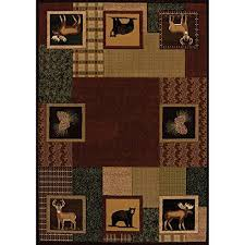 5ft 3in w x 7ft 6in l geometric lodge hunter hand carved brown cabin area rug