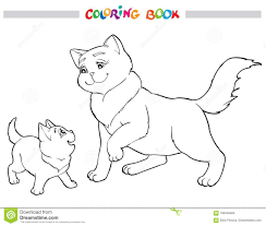 vector ilration cat mother with kitten coloring book stock vector ilration of design