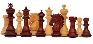 Wooden Game Pieces Bulk Wholesale HandCarved Beige Maroon Color Chessmen in Wood 40