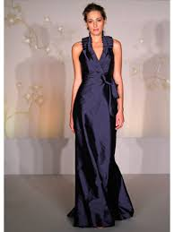 Line Halter Floor Length Long Navy Blue Taffeta Bridesmaid