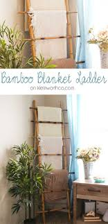This beautiful Bamboo Blanket Ladder is simple to make. Just 4 pieces of  bamboo, screws & some twine & you can add a beachy feel & function to your  decor.