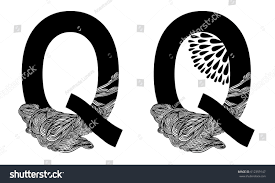 Vector capital letter Q with line floral decor in two versions. English  alphabet for the
