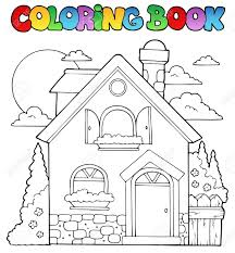 coloring book house theme image 1 vector ilration stock vector 13356170