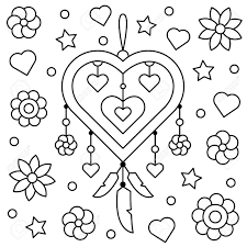 Dreamcatcher Coloring Page Vector Illustration