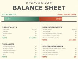balance sheet template opening day balance sheet office templates