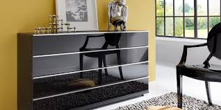 Contemporary Chest Of Drawers Glass Black Loft Wiemann
