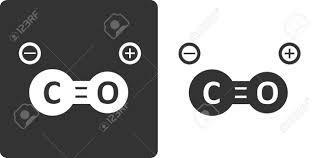 一酸化炭素分子フラット アイコンのスタイル様式化されたレンダリング