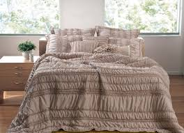 tiana ruched taupe 5 piece bedding set