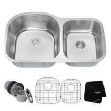 kraus drop in undermount stainless steel 34 in 60 40 double bowl kitchen sink kit kbu27 the home depot
