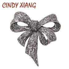 <b>CINDY XIANG Black Color</b> Rhinestone Bow Brooches for Women ...