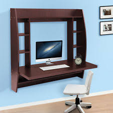 homcom floating wall mount office computer desk. Black Brown White Floating Wall Mount Office Computer Desk With Storage Homcom F