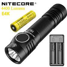 Orijinal NITECORE E4K 4400 lümen el kompakt EDC el feneri ile 21700 büyük  kapasiteli pil|LED Flashlights