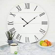 Use your exposed brick accent wall against furniture in white. Amazon Com Large White Wall Clock 21 Inches Wooden Shiplap Farmhouse Decoration Roman Numerals Rustic Barn Shabby Chic Sleek Simple Clock Big Classic Decor Battery Operated Home Kitchen