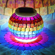 Mosaic Power And Light Us 18 18 39 Off Coquimbo Solar Power Night Light Mosaic Glass Colorful Changing Rainbow Indoor Decoration Led Ball Lights For Christmas Gift In Led