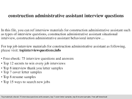 construction administrative assistant interview questions construction administrative assistant resume