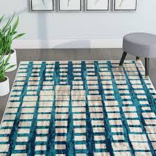 modern area rugs ebern designs angie mid century modern blue area rug reviews wayfair