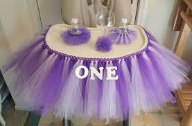 high chair tutu tulle table skirt banner highchair decoration purple lavender princess 1st birthday party cake smash prop ballerina first