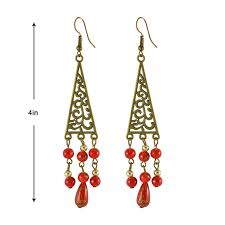 sarah triangular beaded chandelier earring for women red best s in india rediff ping