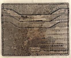 Mens Designer Card Case Mens Tom Ford Crocodile Leather Gray Credit Card Holder