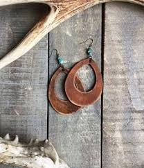 Amazon.com: Leather and <b>Antique Copper Water Drop</b> earrings ...